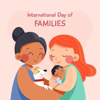 가족 그림의 유기 평면 국제 날