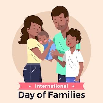 Органический плоский международный день семьи иллюстрация