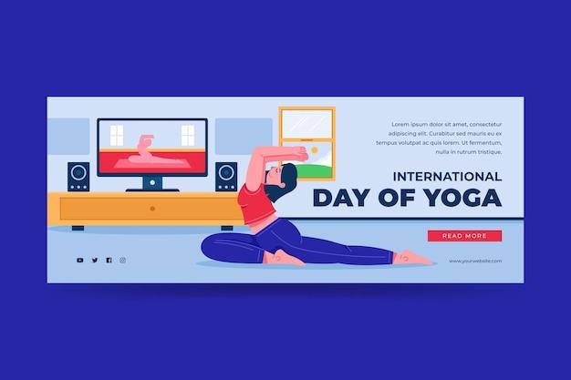 Органический плоский шаблон баннера международного дня йоги