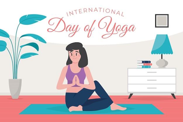 Органический плоский международный день йоги иллюстрации