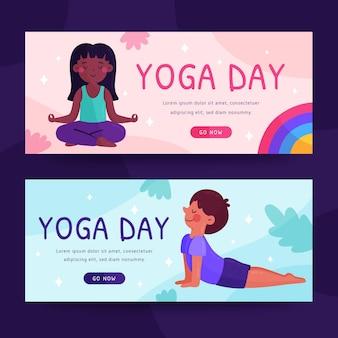 Organic flat international day of yoga banner template