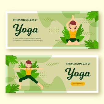 Organic flat international day of yoga banners set