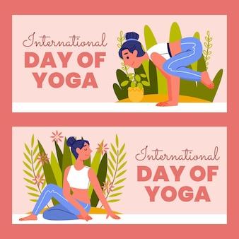 Set di banner di giorno internazionale piatto organico di yoga