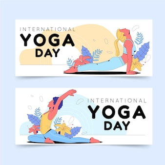 Set di banner di giorno internazionale piatto organico di yoga Vettore gratuito