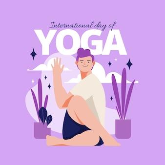 Giornata internazionale piatta organica dell'illustrazione di yoga