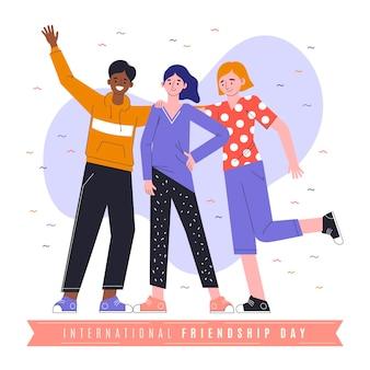 Illustrazione di giorno di amicizia internazionale piatto organico