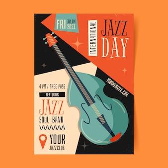Organic flat international jazz day poster template