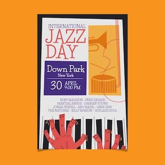 Органический плоский шаблон вертикального плаката международного дня джаза