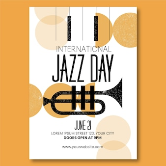 Organic flat international jazz day vertical poster template