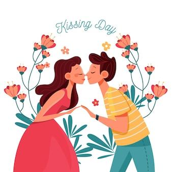 Illustrazione di giorno di bacio internazionale piatto organico