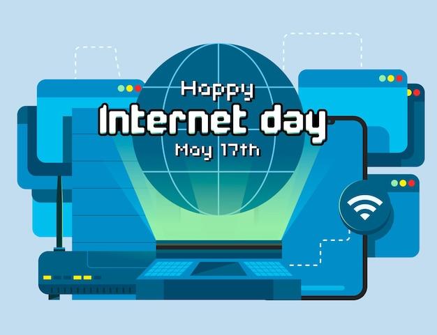 Органический плоский интернет день иллюстрация