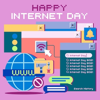 Organic flat internet day illustration
