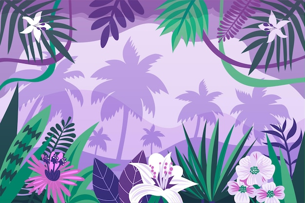 Organic flat jungle background