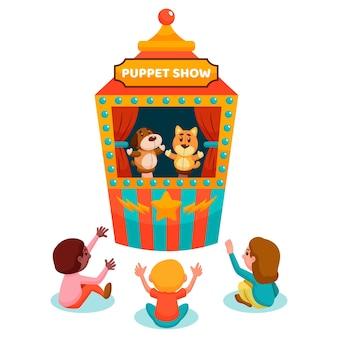 Bambini piatti organici che guardano spettacolo di marionette illustrato