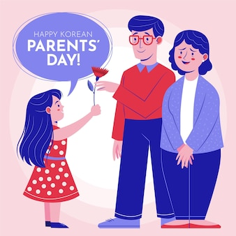 有機フラット韓国の父母の日のイラスト
