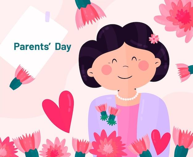 Illustrazione di giorno dei genitori coreani piatti organici