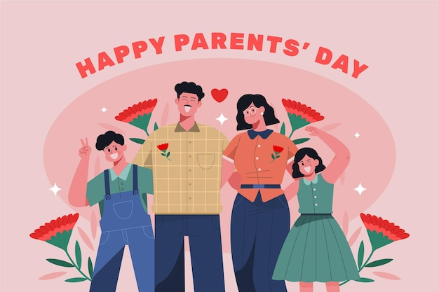 Organic flat korean parents' day illustration