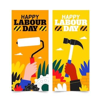 Набор органических плоских баннеров дня труда