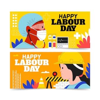 有機フラット労働者の日のバナーセット