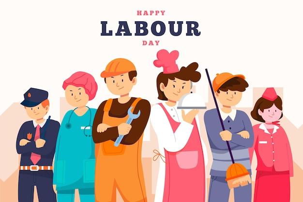 Органическая плоская иллюстрация дня труда