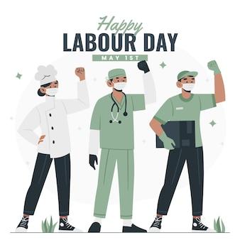 有機フラット労働者の日のイラスト