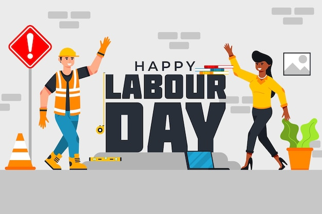 Organic flat labour day illustration