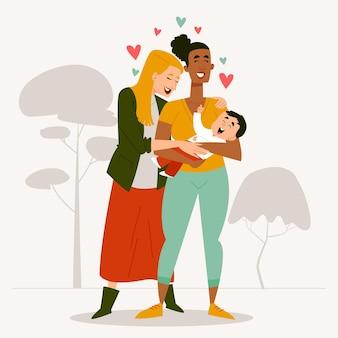 子供と有機フラットレズビアンカップルイラスト