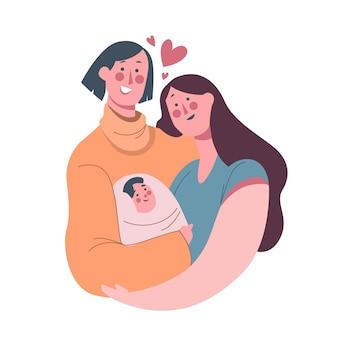 Illustrazione di coppia lesbica piatto organico con bambino