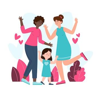 Illustrazione di coppia lesbica piatto organico con un bambino