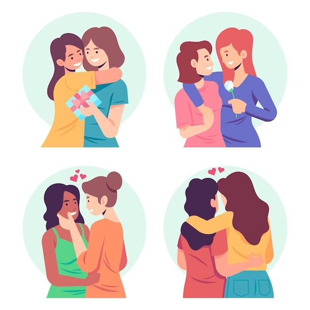 Organic flat lesbian couple scenes