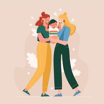 Coppia lesbica piatta organica con un bambino