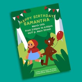 Invito di compleanno di cappuccetto rosso piatto organico