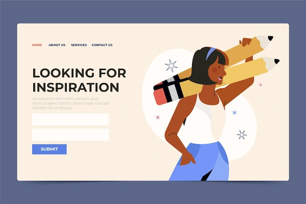 Organic flat looking for inspiration landing page