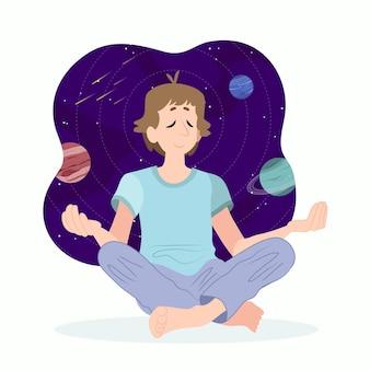 Organic flat man meditating