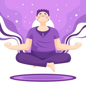 Uomo piatto organico meditando