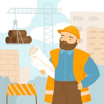 Uomo piatto organico che lavora alla costruzione