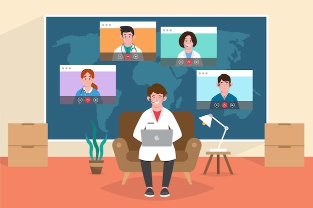 Conferenza medica piatta organica con laptop