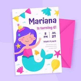 Organic flat mermaid birthday invitation template