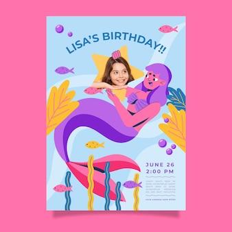 Modello di invito compleanno sirena piatta organica