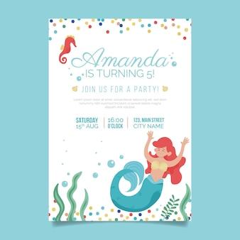 有機フラット人魚の誕生日の招待状のテンプレート