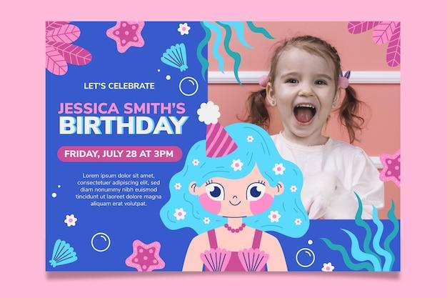 Organic flat mermaid birthday invitation with photo