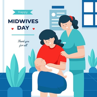 Organic flat midwives day illustration