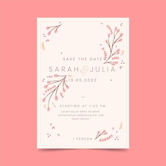 Organic flat minimalist wedding invitation template