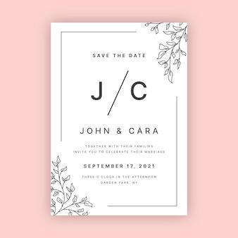 Органический плоский минималистский шаблон свадебного приглашения