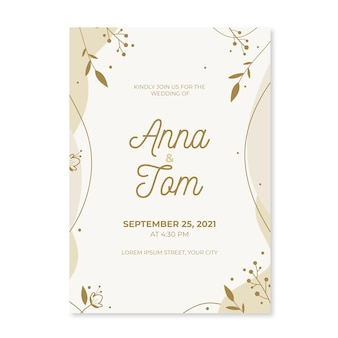 Organic flat minimalist wedding invitation template