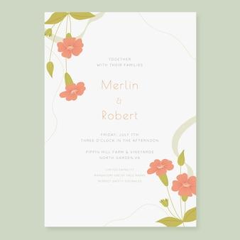 有機フラットミニマリストの結婚式の招待状のテンプレート