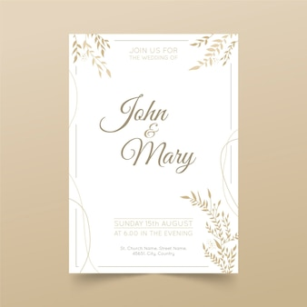 Organic flat minimalist wedding invitation