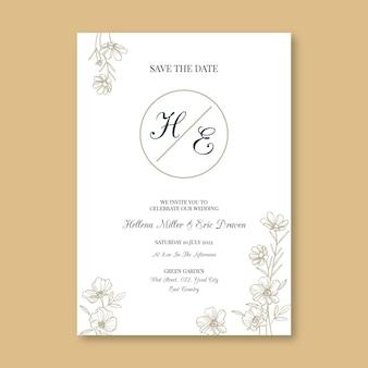 Invito a nozze minimalista piatto organico