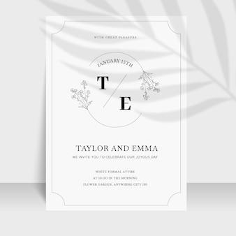 Organic flat minimalist wedding invitation