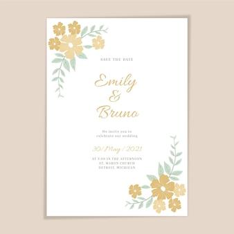 有機フラットミニマリストの結婚式の招待状